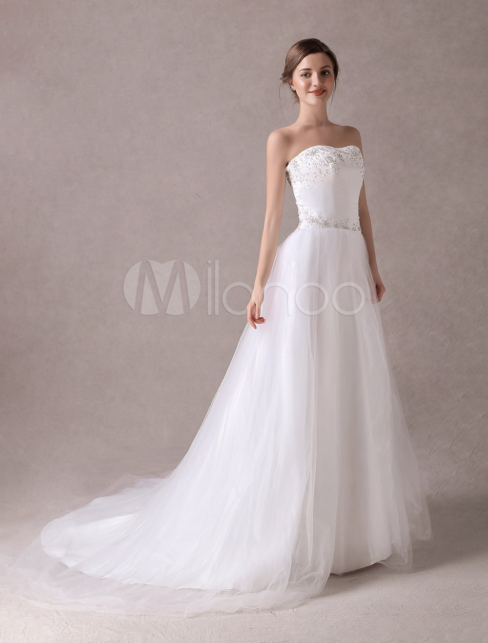 White A-line Strapless Embroidered Organza Bridal Wedding Dress