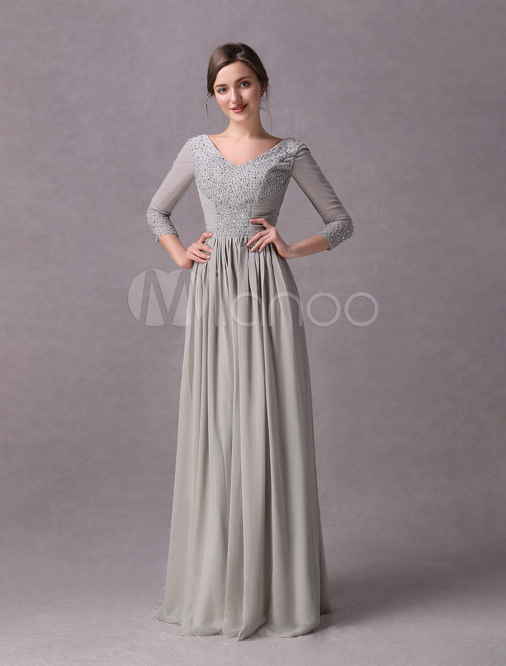 Buy Silver Sheath V-Neck Ruched Chiffon Dress For Mother of the Bride with 3/4 Length Sleeves for $149.99 in Milanoo store