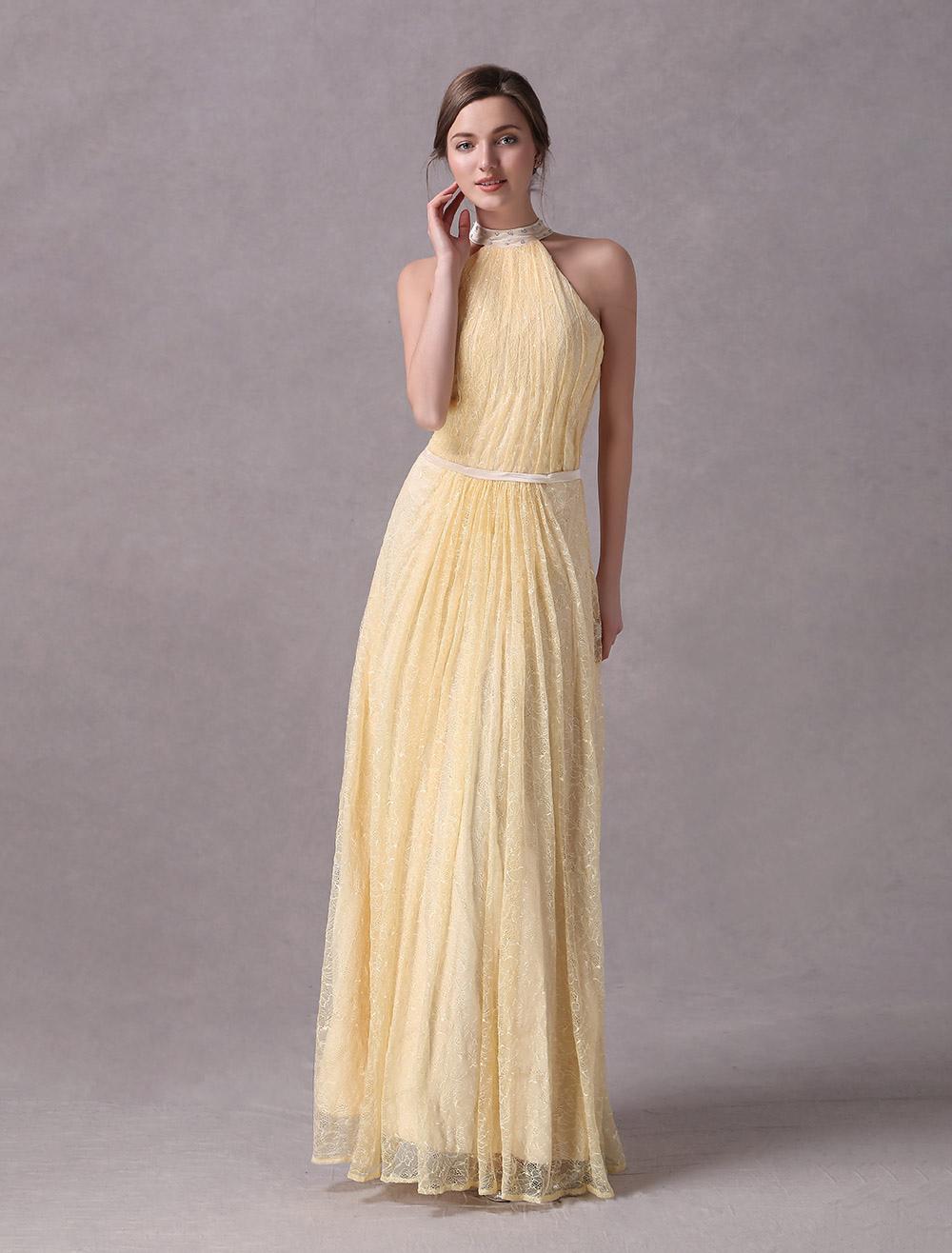 Abendkleid in narzissengelb - Milanoo abendkleider ...