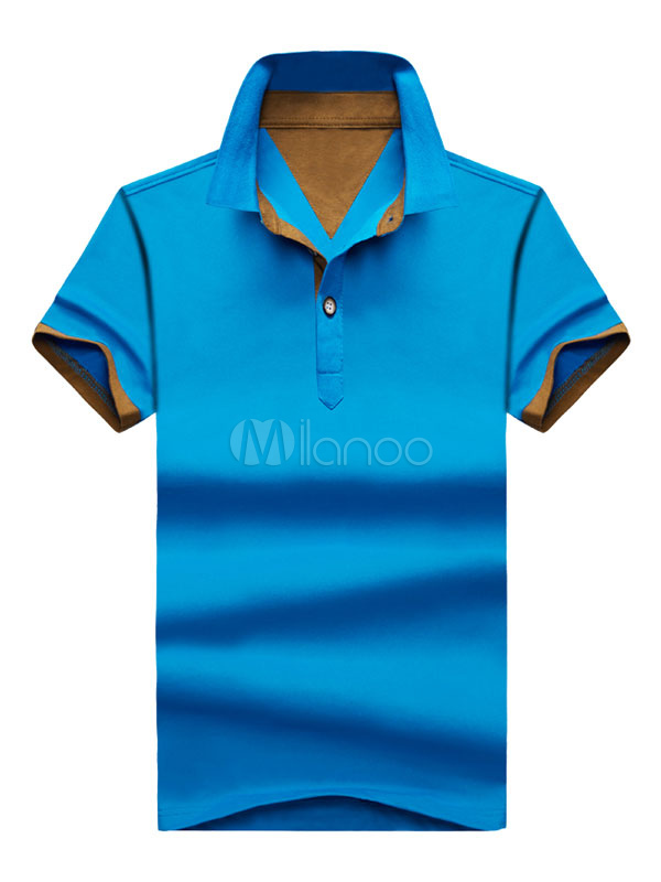 Short Sleeve T Shirt Cotton Buttons Solid Color Polo Shirt For Men
