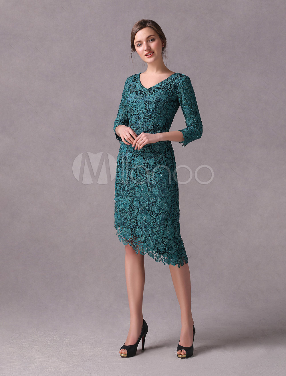 Wedding Guest Dresses Lace Dark Green V Neck Mother Of The Bride Dress Asymmetrical Sheath Cocktail Party Dress