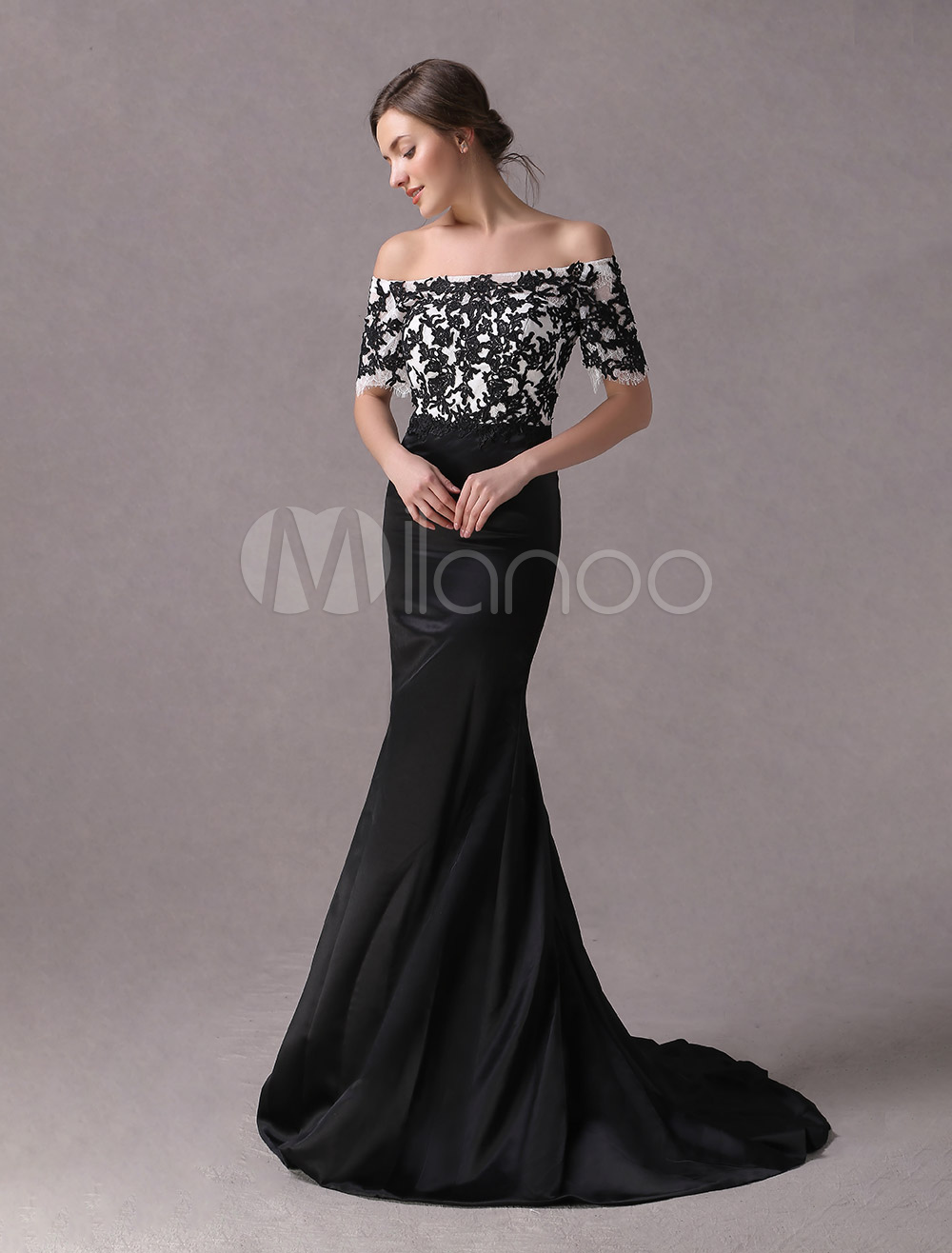 Black Prom Dresses Off The Shoulder Lace Applique Mermaid Evening Dress Satin Half Sleeve Formal Gowns With Train
