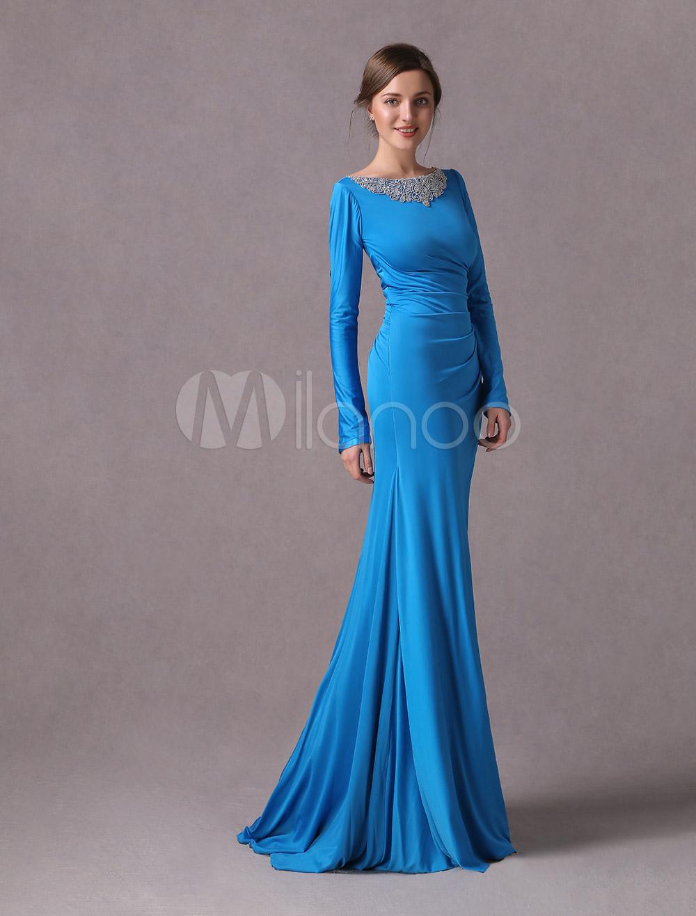 dc9825811 Mãe da noiva vestidos de manga longa azul vestido de noite sereia frisado  vestido de festa ...