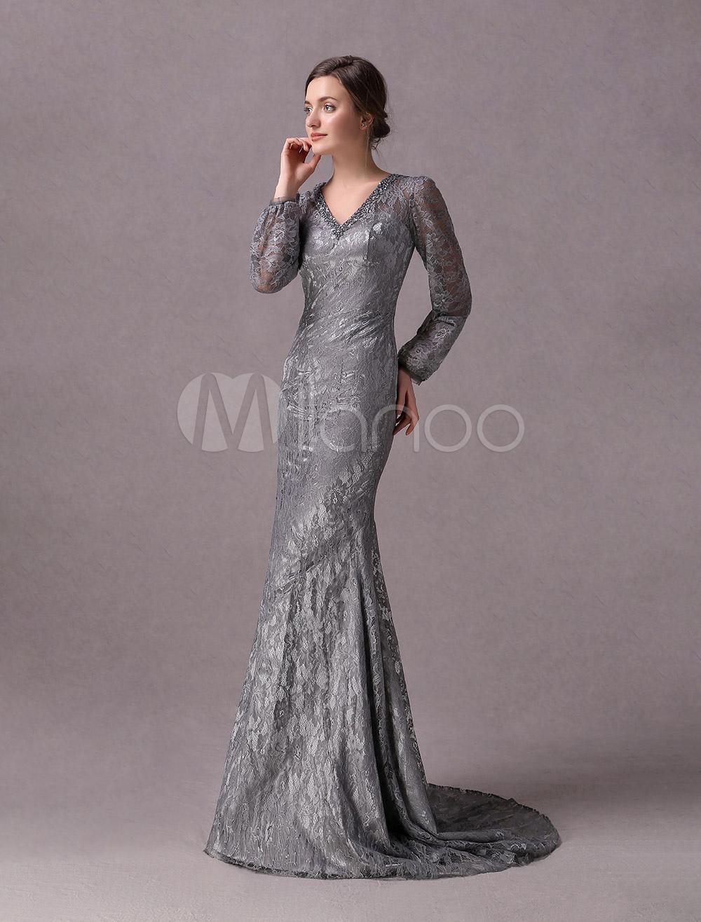 2a88fd97f ... Vestidos de noche grises vestido de madre de manga larga de encaje  rebordear vestido formal de ...