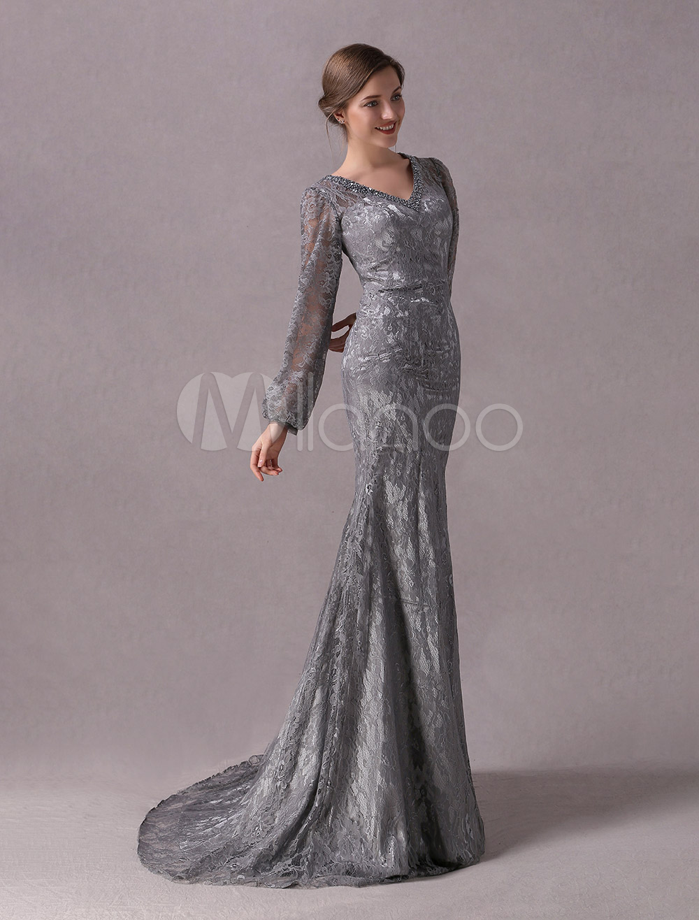 Grey Evening Dresses Lace Long Sleeve Mother Dress Beading V Neck ...