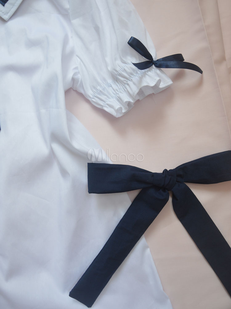 Sailor Lolita Blouses Sailor Collar Short Sleeve Two Tone White Lolita Top