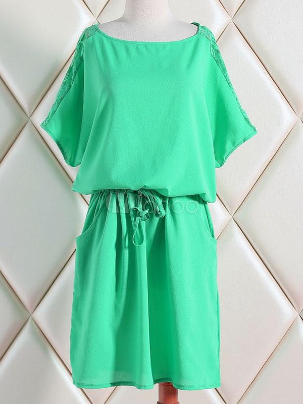 4741fcb017 ... Tunic Dresses Plus Size Womens Dresses Lace Short Sleeve Round Neck  Drawstring Dark Navy Summer Dresses. 12