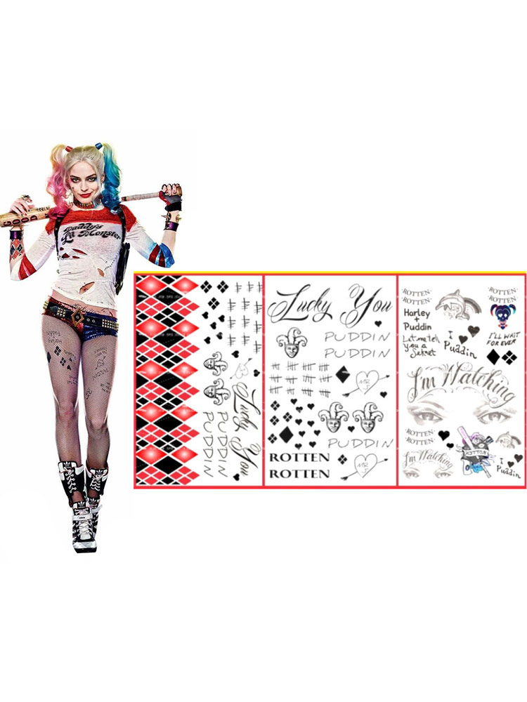 a7ded61c766072 Suicide Squad Harley Quinn Halloween Cosplay Temporary Tattoo  Halloween-No.1 ...