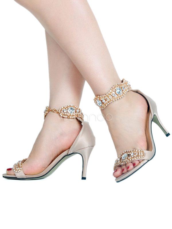 Fiesta 2019 Zapatos Pubta Para Abierta De Satén Imitación Mujer Sandalias Alto Tacón Diamante Prom lKJ1cF3T