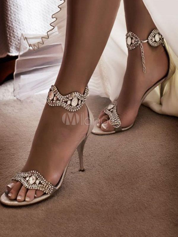 renombre mundial fábrica auténtica más de moda Sandalias de Tacón Alto de Satén 2019 Pubta Abierta Diamante de Imitación  Zapatos de Fiesta para Mujer Prom Zapatos