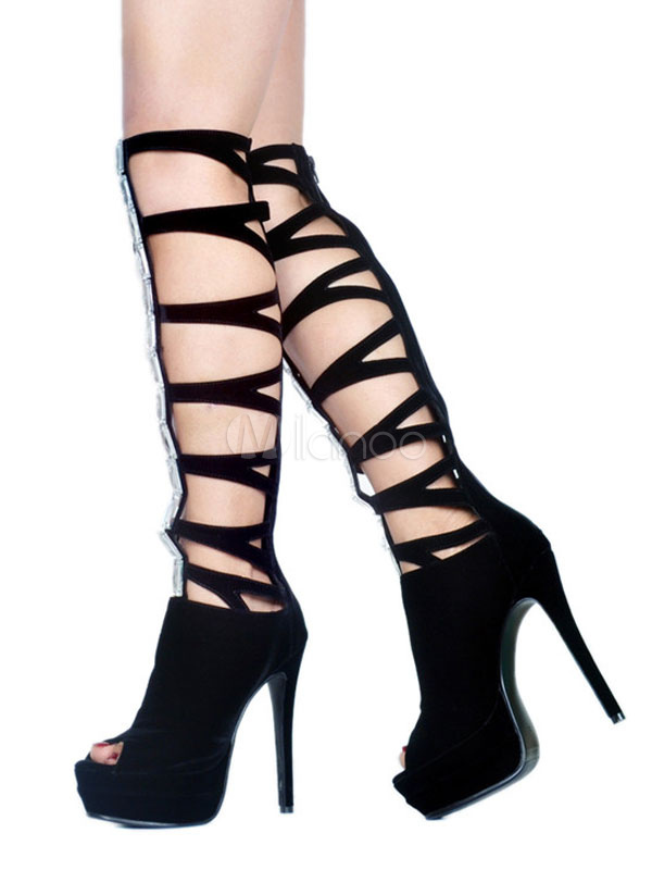 Gladiateur Hauts Chaussures Noir À Talons Nubuck Toe Platform Sandales Femme Peep Strass kZiOPXu