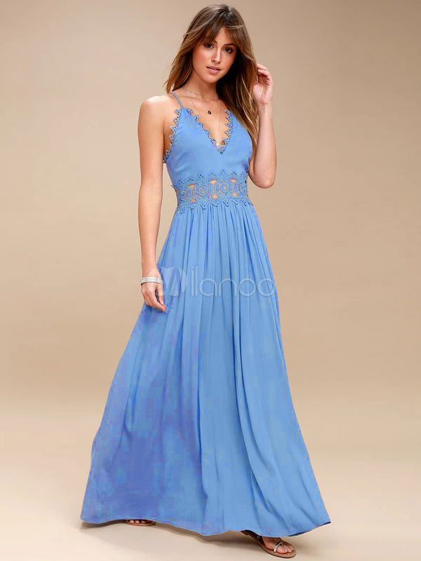 Women Maxi Dress Straps Lace Cut Out Light Blue Summer Dress-No.1 ... 0f596c14b780