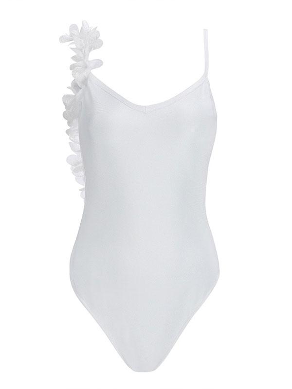 best service 10135 6f714 Badeanzug 2019 Einteiler Weiße Blumen Backless Beach Swimwear