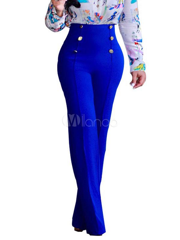 Pantalones Largos De Mujer Pantalones Altos De Cintura Elastica Pantalones Rectos Milanoo Com