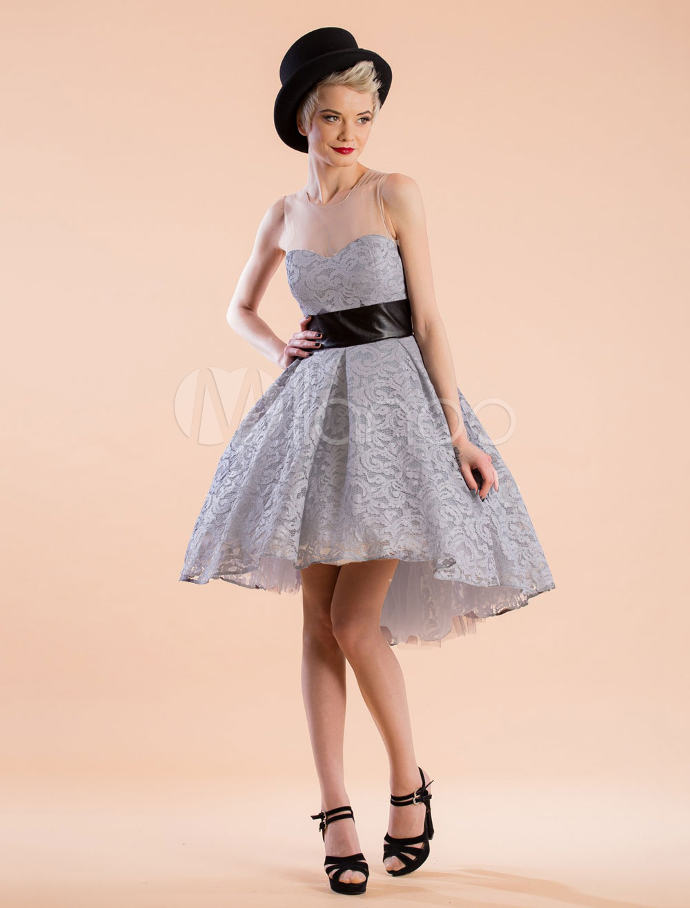 Buy Women Skater Dress Tulle Sleeveless Semi Sheer Pleated High Low Grey Lace Retro Dress for $22.99 in Milanoo store
