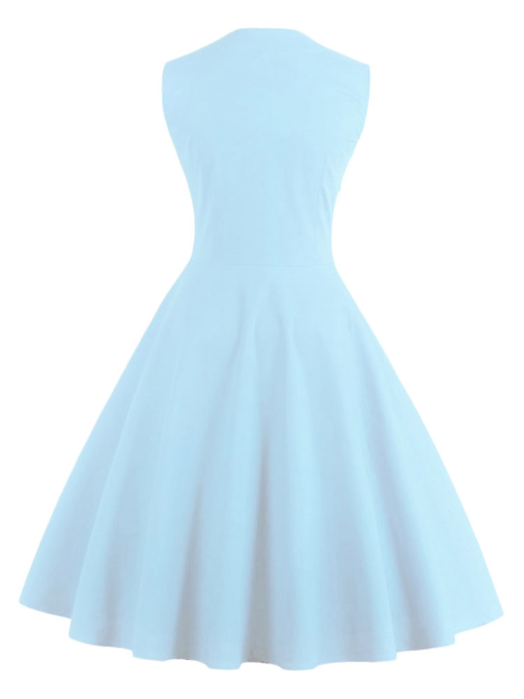 Women s Vintage Dress Light Blue Square Neckline Sleeveless Polka Dot  Pleated Skater ... 5bf351d35