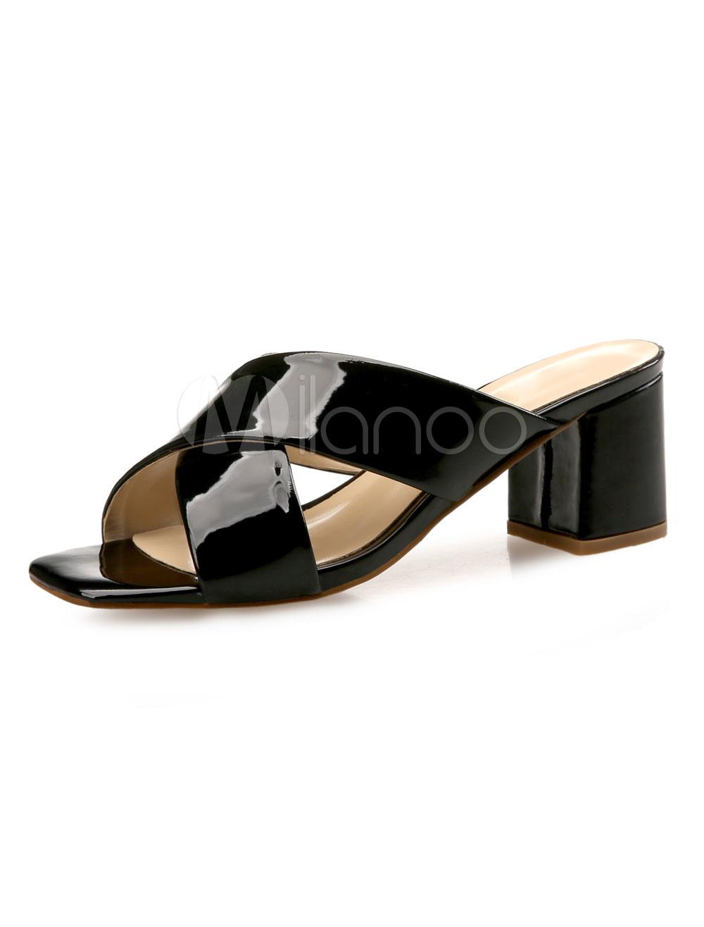 14a05ba167a Black Sandal Slippers Women Shoes Open Toe Chunky Heel Slide Sandals-No.1  ...