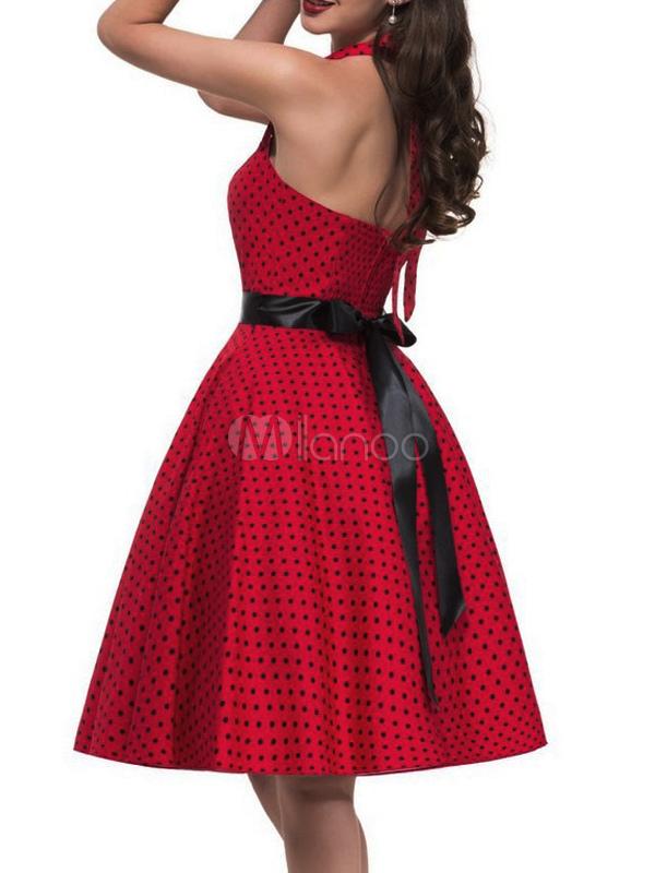 Retro Polka Sweetheart Plissee Für Rote Vintage Gedruckt Damen Neckholder Kleid Dot eBWdCrxo