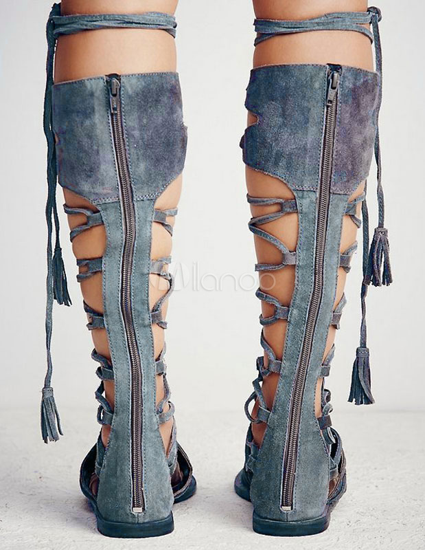 4c739037eba1 ... Women Gladiator Sandals Boho Suede Tassels Knee Length Flat Sandal  Booties Lace Up Sandals-No ...