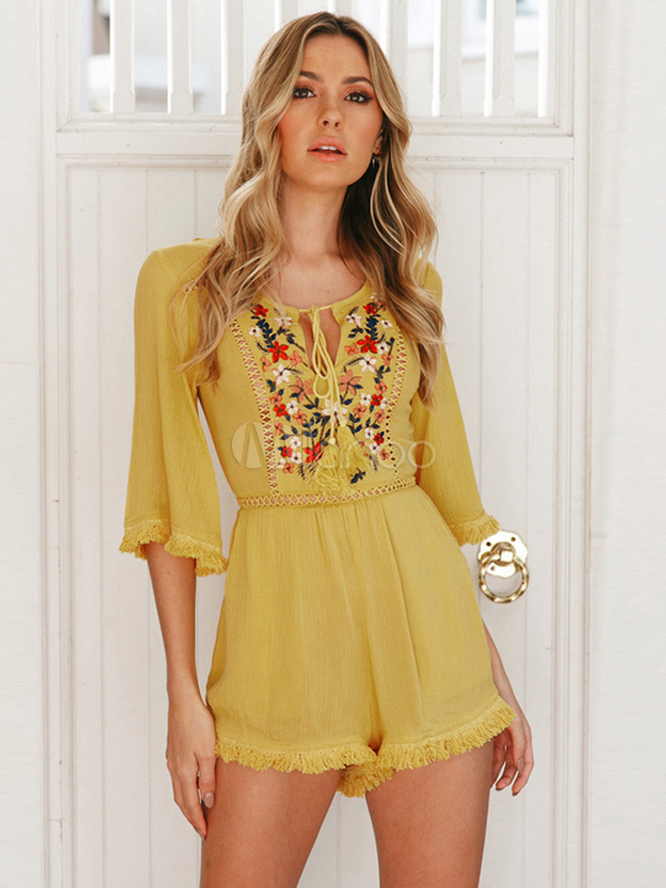 Buy Women Yellow Romper Boho Embroidered Backless Half Sleeve Cotton Summer Playsuit for $33.99 in Milanoo store