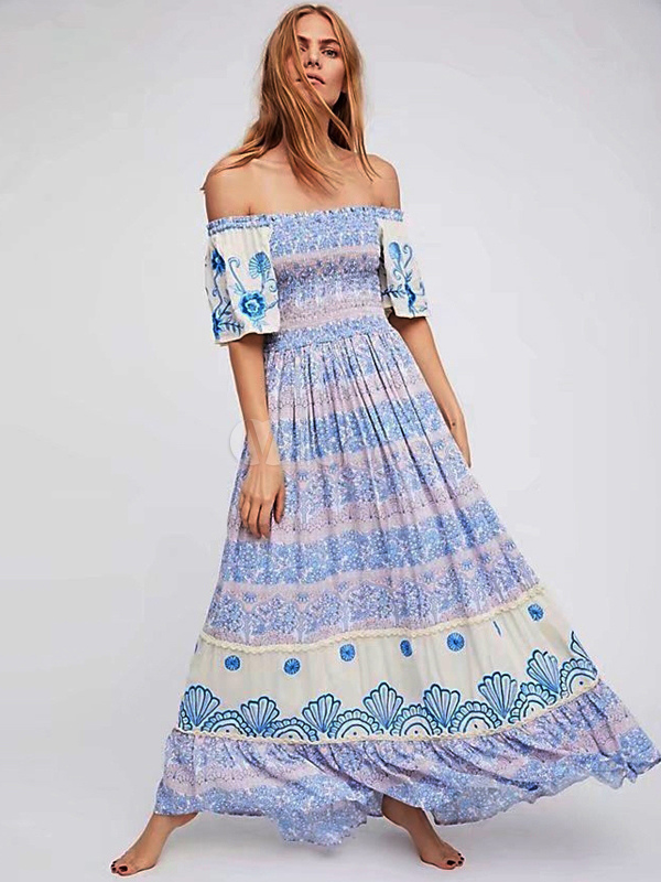 359c0168b1d7 Boho Maxi Dress Off The Shoulder Half Sleeve Printed Light Blue Bardot  Summer Dress-No ...