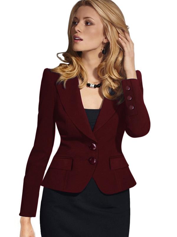 3c52a3bcdf Blazers casulaes de mujer 2019 Americanas mujer de poliéster blazer de  cuello vuelto Color liso con ...