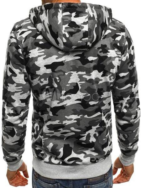 7bb8e1fb3f556 ... Long Sleeve Hoodie Camo Print Cuff Zipper Up Hooded Men Sweatshirt-No.4