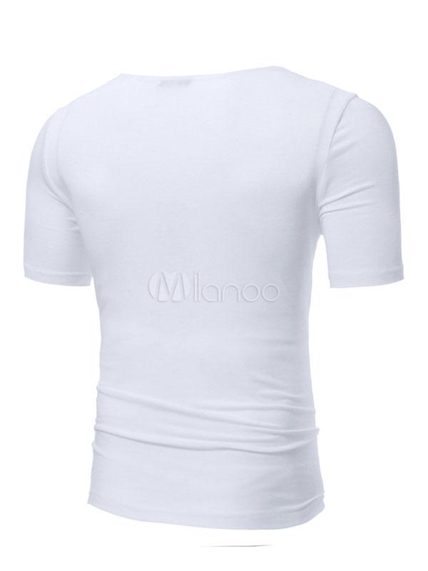 00c7c1feb ... Men Casual T Shirt Zipper Ripped Slim Fit Short Sleeve T Shirt-No.3
