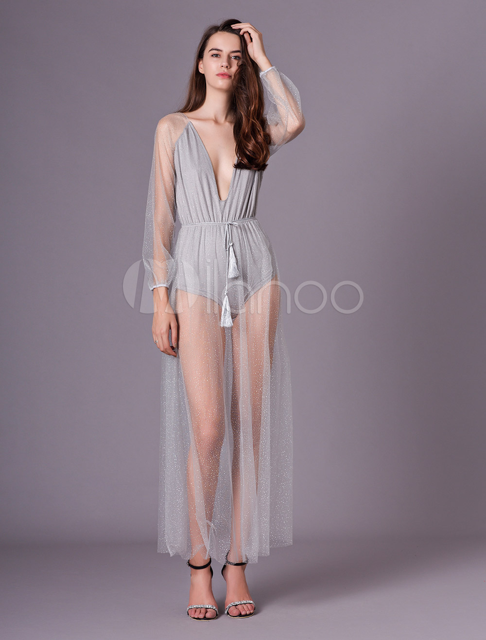 197611927a ... Glitter Maxi Dress Silver Sequin Party Dress Tulle Sheer Plunging  Backless Long Sleeve Women Sexy Dress ...