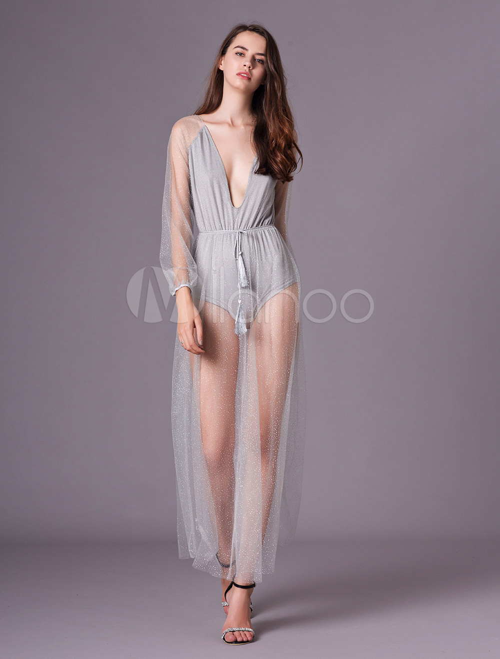 Buy Glitter Maxi Dress Silver Sequin Party Dress Tulle Sheer Plunging Backless Long Sleeve Women Sexy Dress for $38.39 in Milanoo store