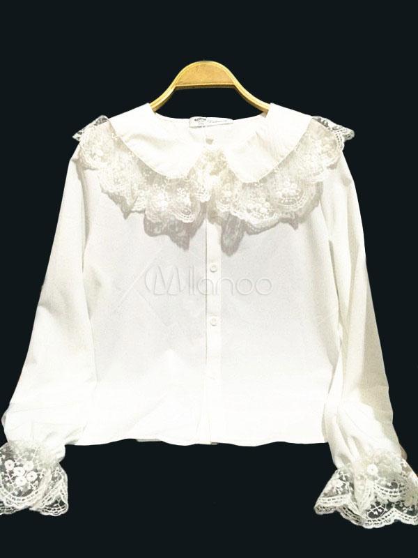 Buy Sweet Lolita Blouse White Lace Peter Pan Collar Lolita Shirt for $27.19 in Milanoo store