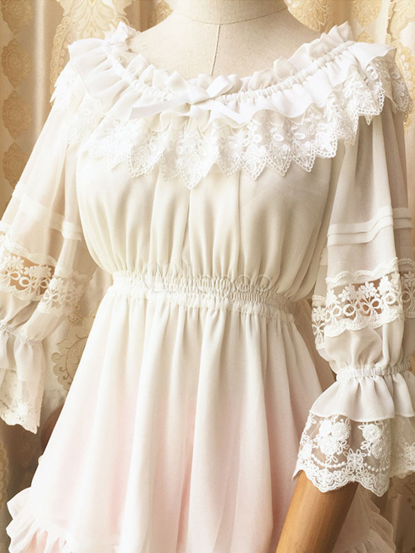 Milanoo / Sweet Lolita Blouse White Lace Hime Sleeve Lolita Shirt