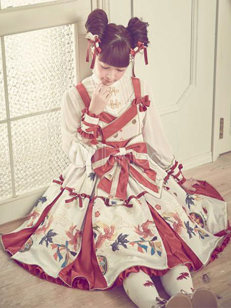 Buy Sweet Lolita Dress JSK Red Printed Lolita Jumper Skirt for $140.39 in Milanoo store