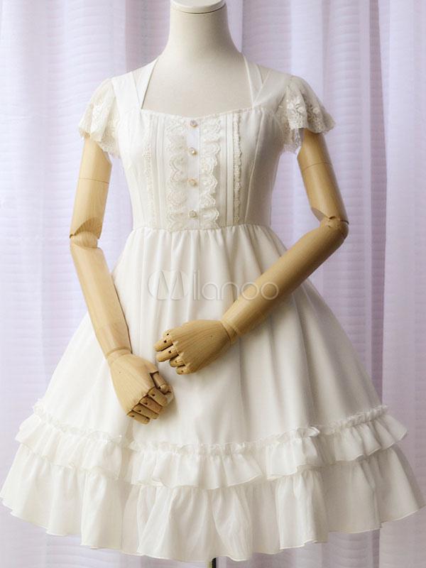 Buy Sweet Lolita Dress OP Chiffon Short Sleeve White Lolita Dress Tiered Halter Lolita One Piece Dress for $66.99 in Milanoo store