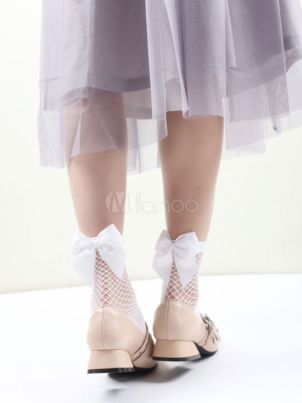Buy Sweet Lolita Socks Net Bow Decor Lolita White Socks for $8.99 in Milanoo store