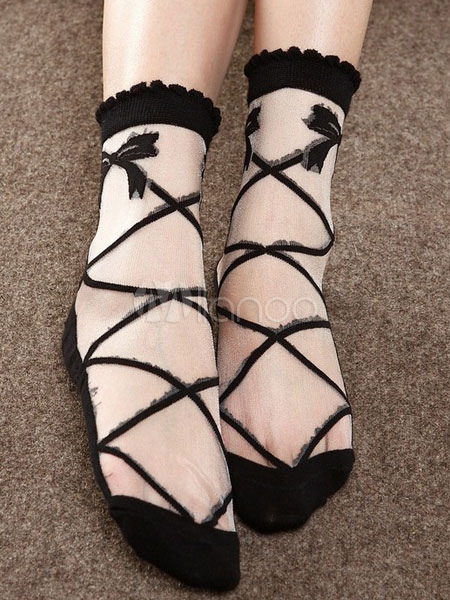 Buy Sweet Lolita Socks Bowknots Pirnted Frills Lolita Black Socks for $9.19 in Milanoo store