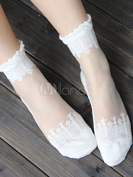 Buy Sweet Lolita Socks Baroque Flowers Jacquard Lolita White Socks for $7.19 in Milanoo store