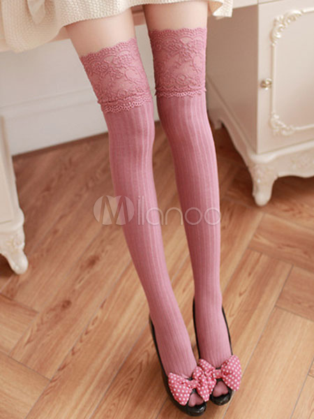 215d7c45b ... Sweet Lolita Stockings Lace Trim Jacquard Vertical Stripes Lolita Thigh  Highs-No.7 ...