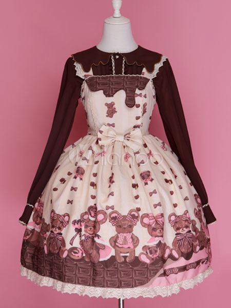 Buy Sweet Lolita Dress Chocolate Bear JSK Chiffon Lace Trim Lolita Jumper Skirt for $122.99 in Milanoo store