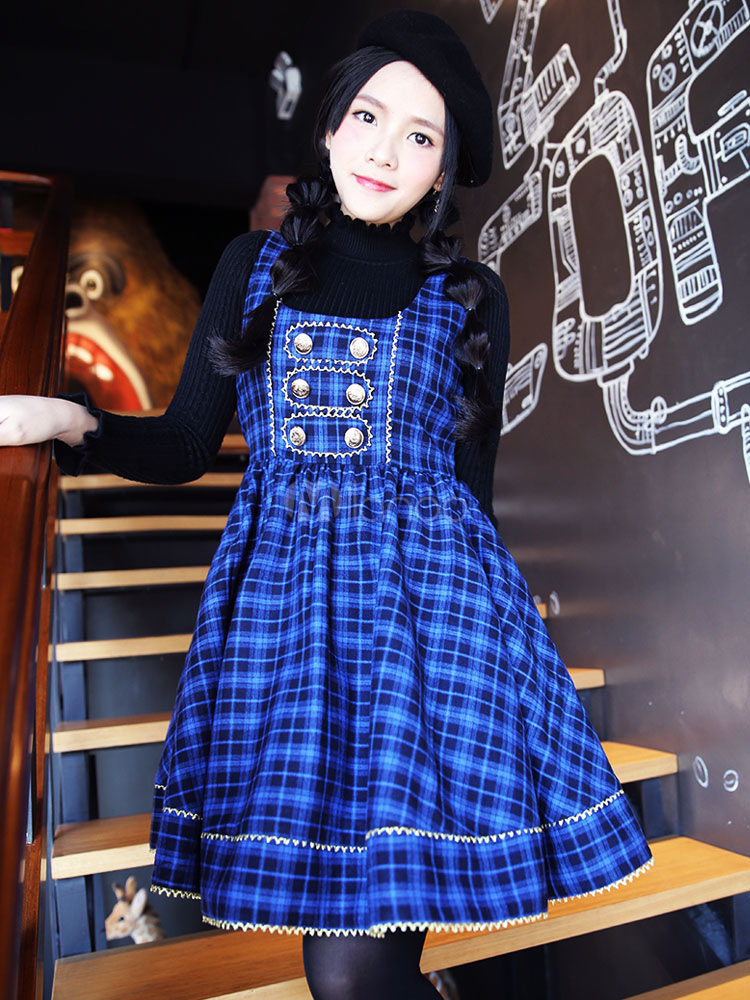 Buy Sweet Lolita Dress JSK Blue Plaid Lolita Jumper Skirt for $65.69 in Milanoo store