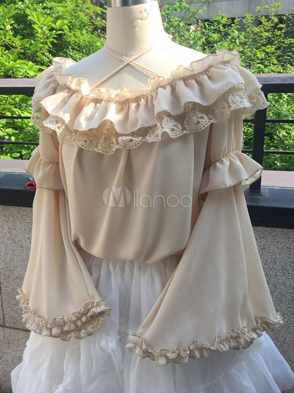 Buy Sweet Lolita Blouse Earth Yellow Chiffon Hime Sleeve Criss Cross Ruffle Lolita Top for $31.19 in Milanoo store