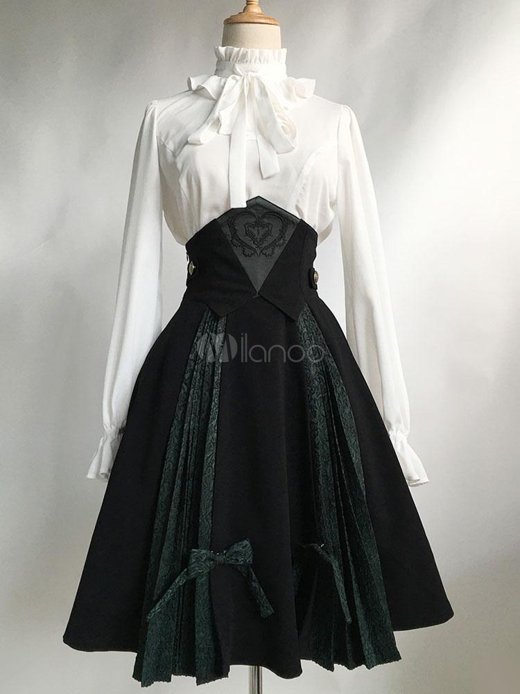 56476a01ce5c5b Gothic Lolita Robe SK Noir Lolita Robe taille haute Jacquard plissé jupe  Lolita avec Bow