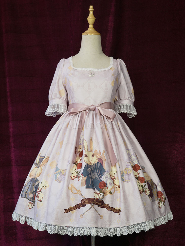Buy Sweet Lolita Dress Mr. Rabbit OP Chiffon Lace Trim Bowknot Cameo Pink Lolita One Piece Dress for $172.99 in Milanoo store