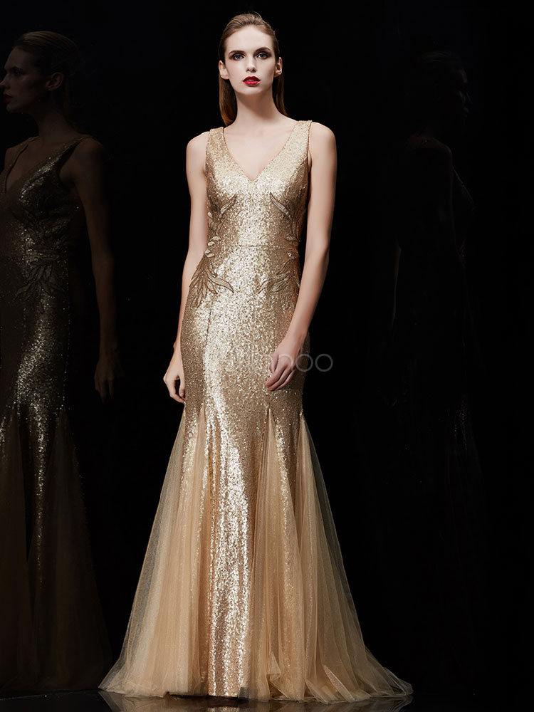 Buy Sequin Evening Dress 2 Piece Applique Mother Of The Bride Dress Light Gold V Neck Mermaid Wedding Guest Dresses With Train for $285.99 in Milanoo store