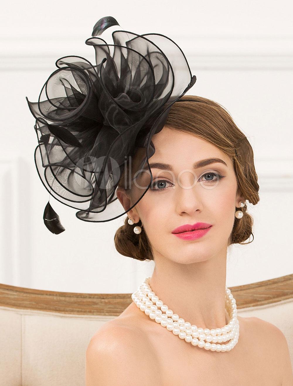 Buy Flapper Costume Hat Organza Flower Feather Black Retro Costume Headpiece Hat Halloween for $26.99 in Milanoo store