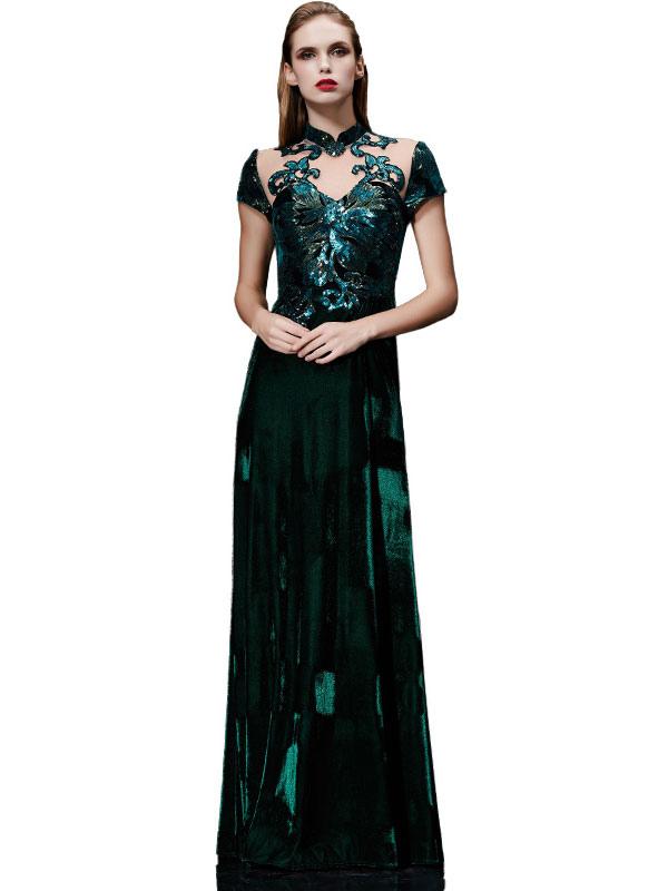 Buy Velvet Evening Dress Illusion Sequin Mother's Dress Dark Green Stand Collar Short Sleeve A Line Floor Length Wedding Guest Dresses for $237.59 in Milanoo store