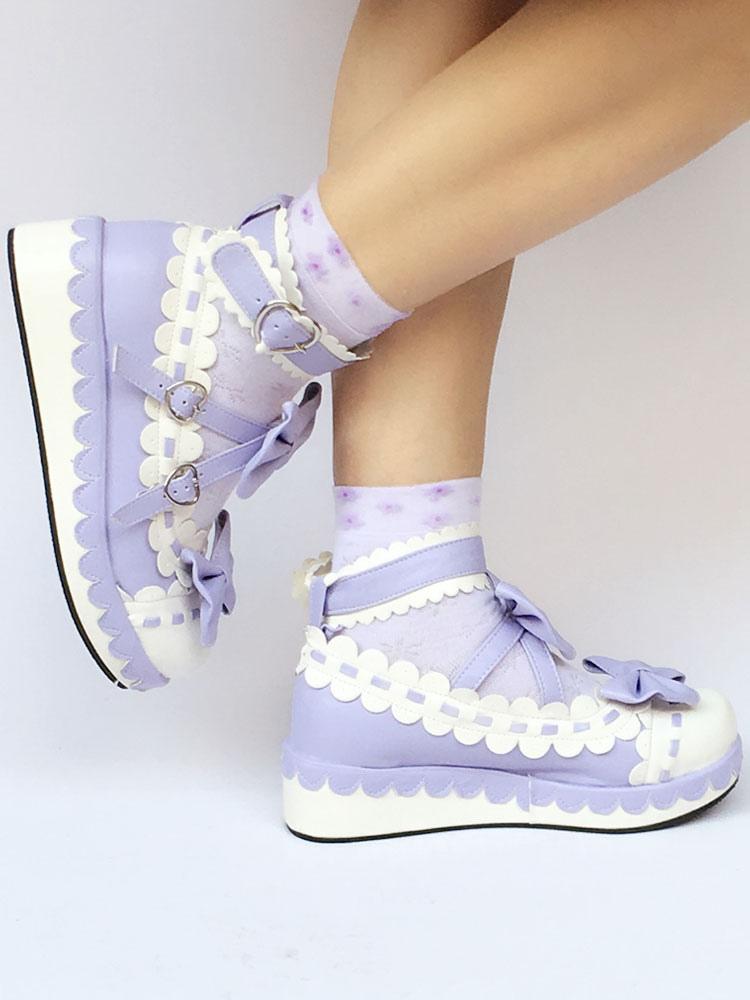 Buy Sweet Lolita Shoes Purple Bows Platform Two Tone Lolita Footwear for $70.19 in Milanoo store