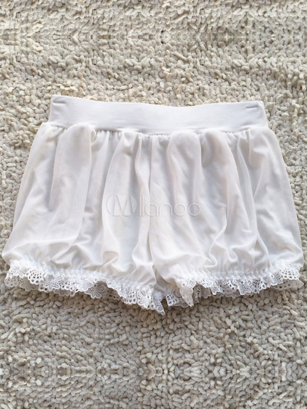 Buy White Lolita Bloomers Lace Ruffles Cotton Lolita Shorts For Women for $14.39 in Milanoo store