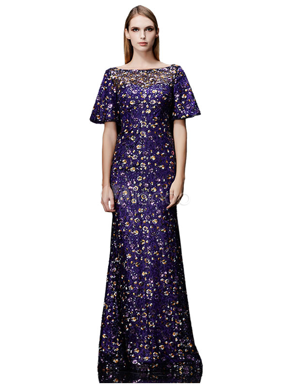 Buy Sequin Evening Dress Bateau Mermaid Mother's Dress Purple Bell Half Sleeve Floor Length Wedding Guest Dresses for $193.59 in Milanoo store