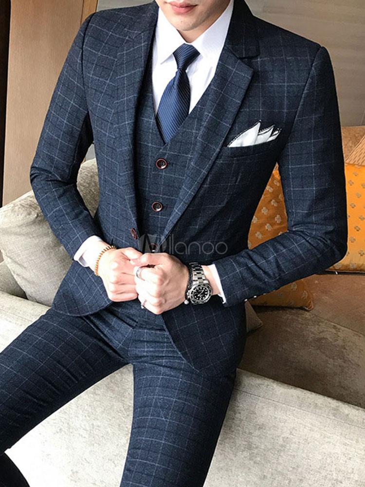 best website new style how to buy Men's Wedding Suit Grey Lapel Collar Long Sleeve Plaid Tuxedo Suit In 3 Pcs